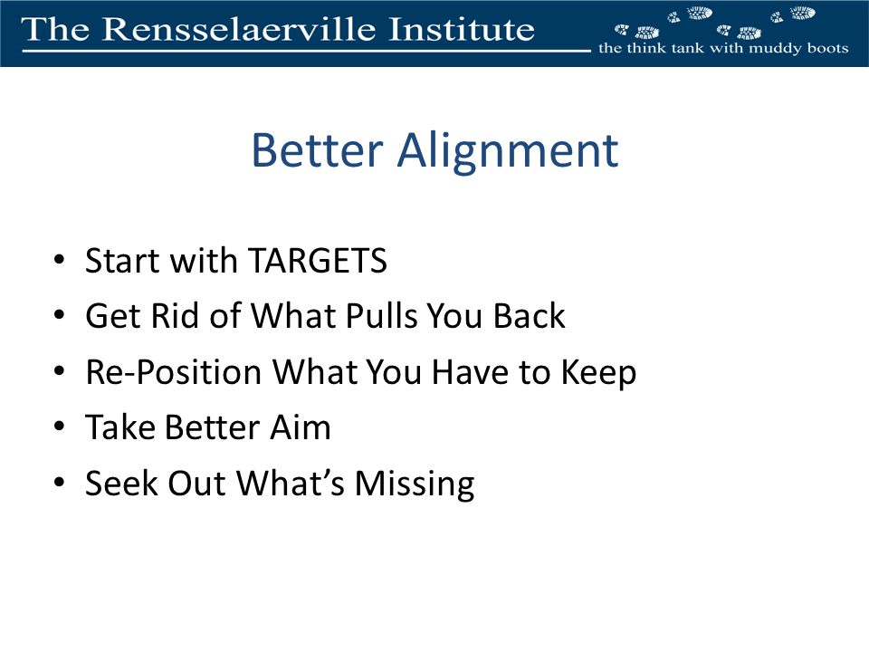 Better Alignment Start with TARGETS Get Rid of What Pulls You Back Re-Position What You Have to Keep Take Better Aim Seek Out Whats Missing