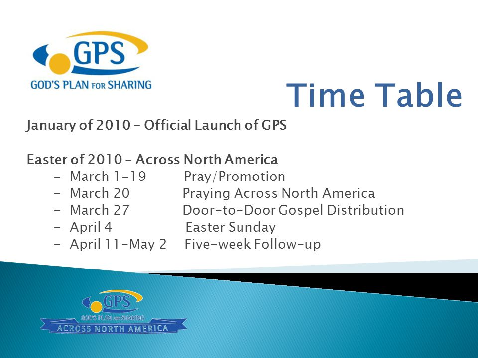 Time Table January of 2010 – Official Launch of GPS Easter of 2010 – Across North America - March 1-19 Pray/Promotion - March 20 Praying Across North