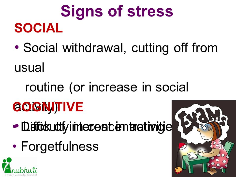SOCIAL Social withdrawal, cutting off from usual routine (or increase in social activity) Lack of interest in activities Signs of stress COGNITIVE Dif