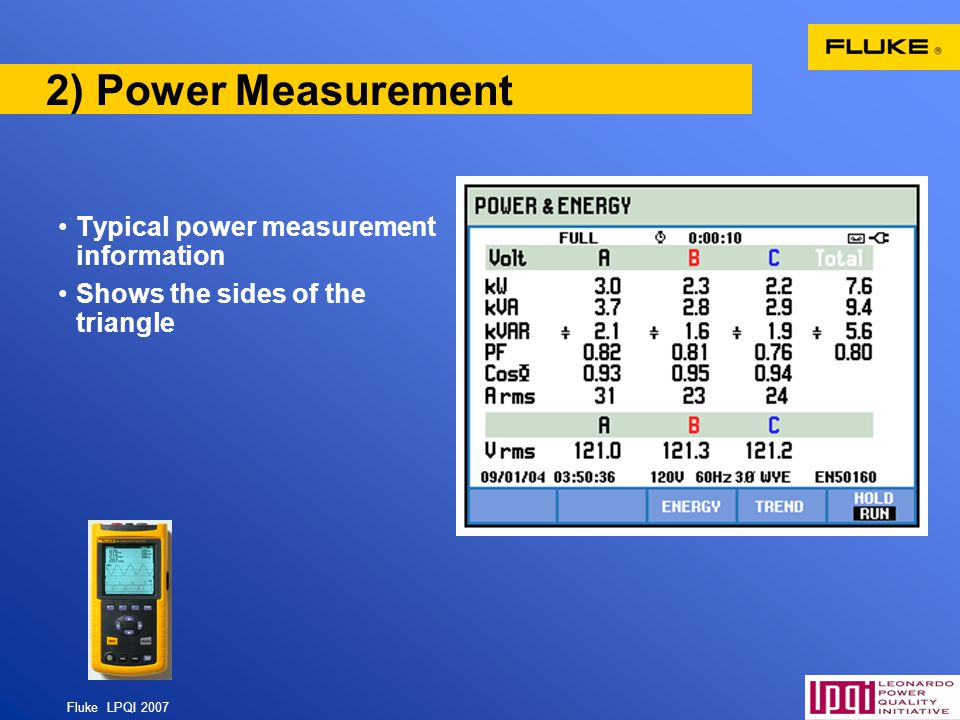 Fluke LPQI 2007 53 2) Power Measurement Typical power measurement information Shows the sides of the triangle