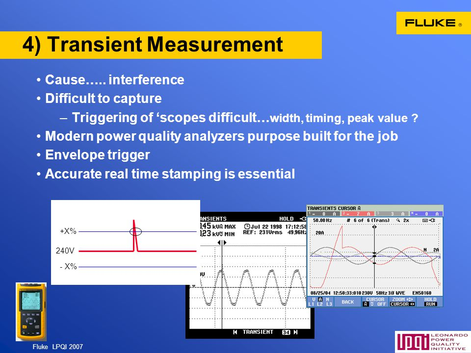 Fluke LPQI 2007 55 4) Transient Measurement Cause….. interference Difficult to capture –Triggering of scopes difficult… width, timing, peak value ? Mo