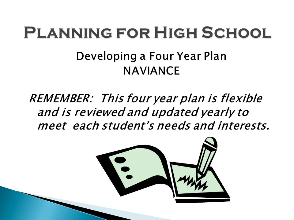 Developing a Four Year Plan NAVIANCE REMEMBER: This four year plan is flexible and is reviewed and updated yearly to meet each students needs and interests.