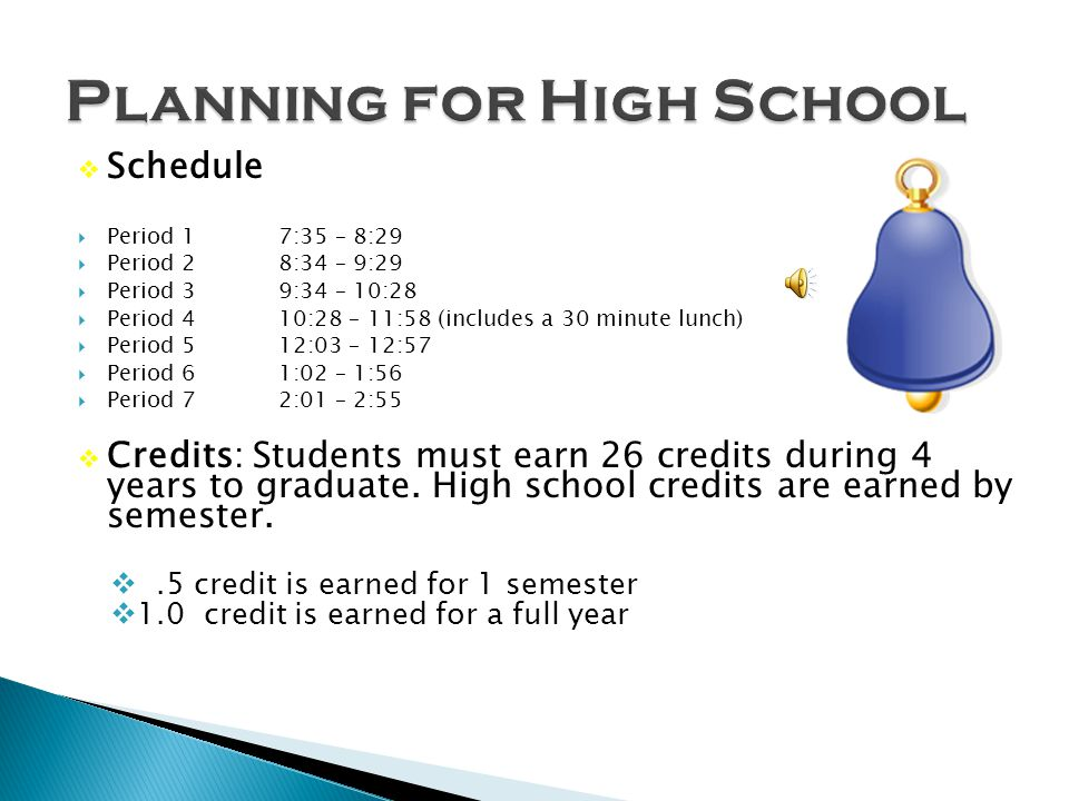 Schedule Period 1 7:35 – 8:29 Period 28:34 – 9:29 Period 39:34 – 10:28 Period 410:28 – 11:58 (includes a 30 minute lunch) Period 512:03 – 12:57 Period 61:02 – 1:56 Period 72:01 – 2:55 Credits: Students must earn 26 credits during 4 years to graduate.