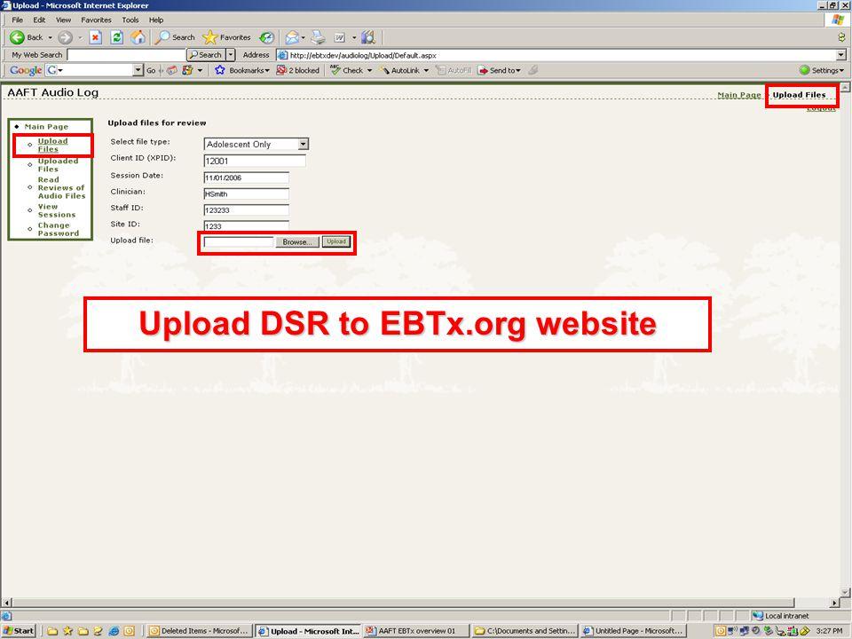 Upload DSR to EBTx.org website
