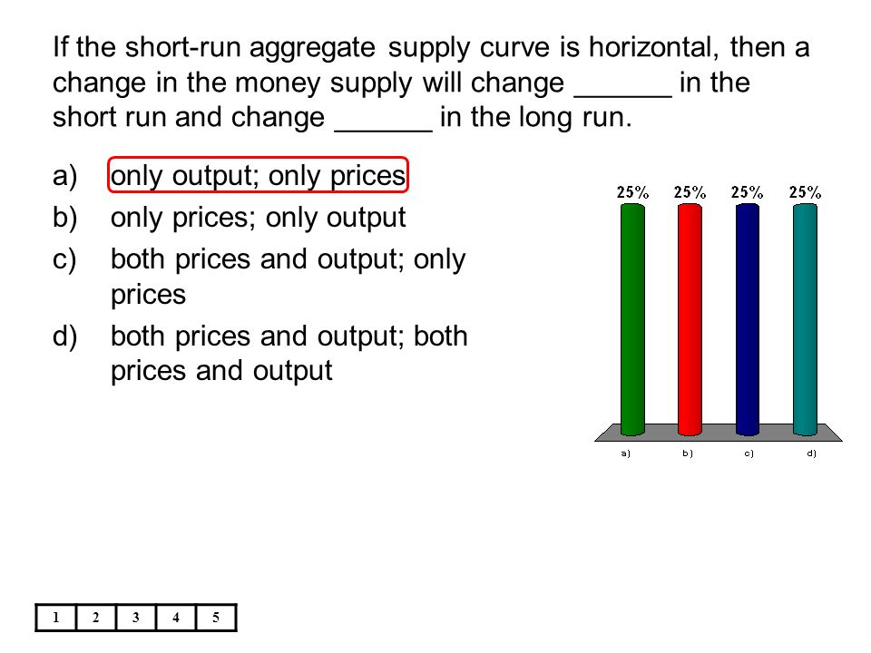 If the short-run aggregate supply curve is horizontal, then a change in the money supply will change ______ in the short run and change ______ in the