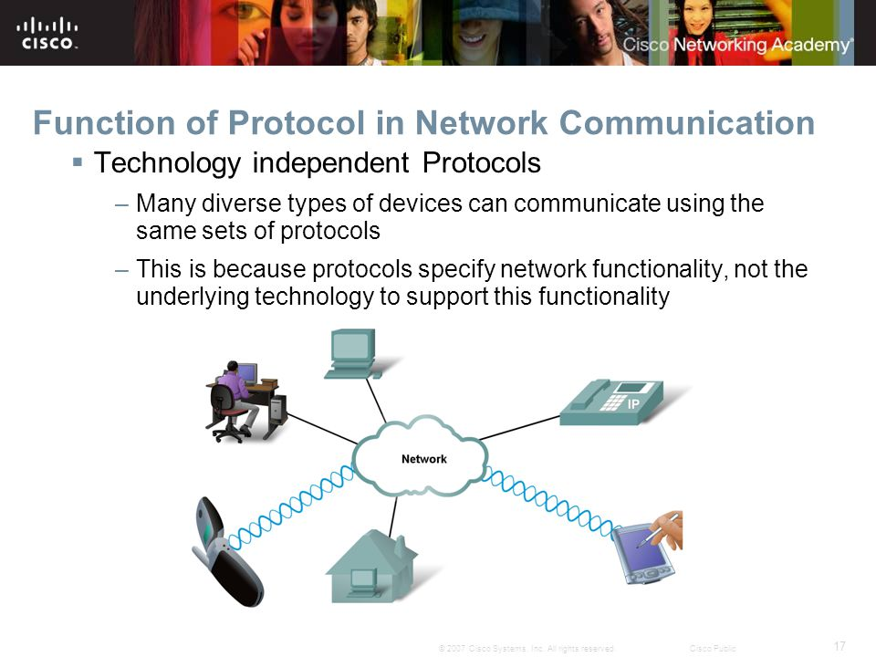 17 © 2007 Cisco Systems, Inc. All rights reserved.Cisco Public Function of Protocol in Network Communication Technology independent Protocols –Many di