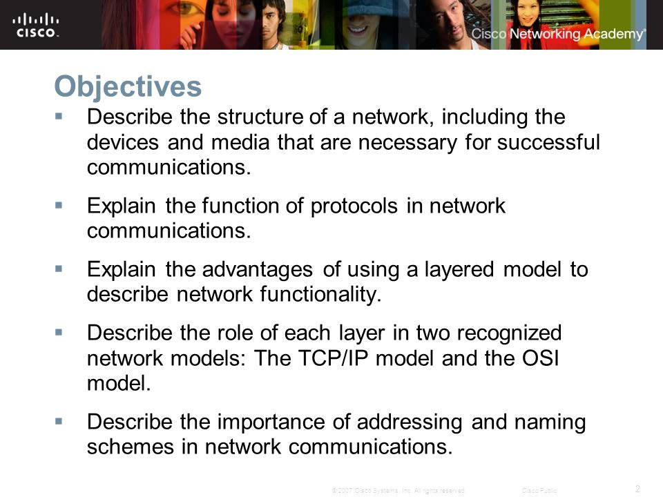 2 © 2007 Cisco Systems, Inc. All rights reserved.Cisco Public Objectives Describe the structure of a network, including the devices and media that are