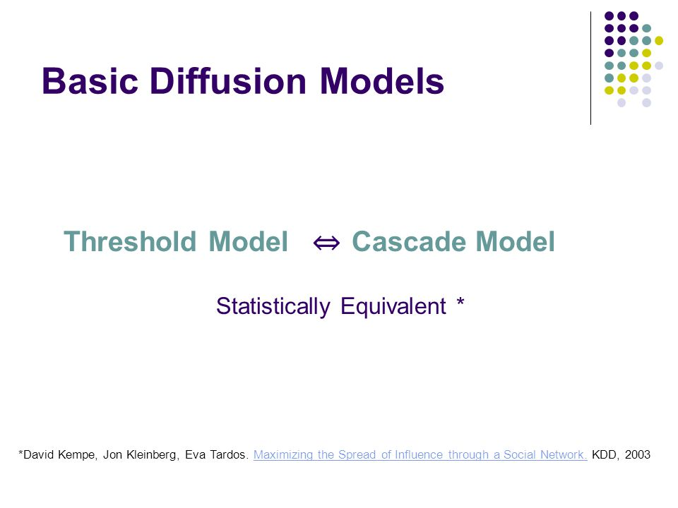 Basic Diffusion Models Threshold ModelCascade Model Statistically Equivalent * *David Kempe, Jon Kleinberg, Eva Tardos.