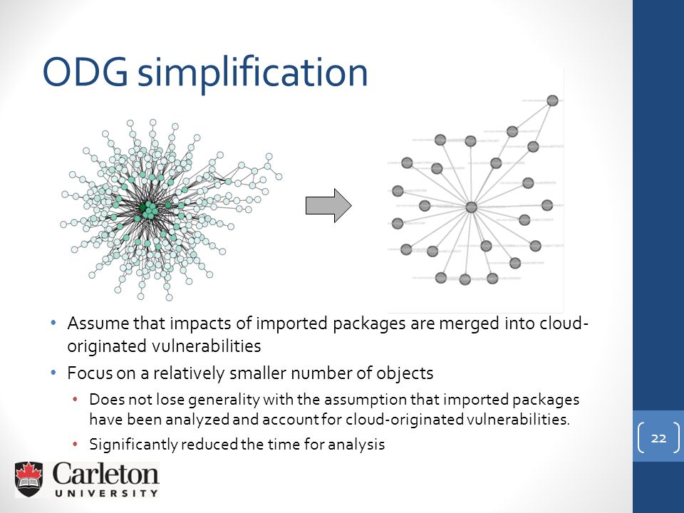 ODG simplification Assume that impacts of imported packages are merged into cloud- originated vulnerabilities Focus on a relatively smaller number of objects Does not lose generality with the assumption that imported packages have been analyzed and account for cloud-originated vulnerabilities.