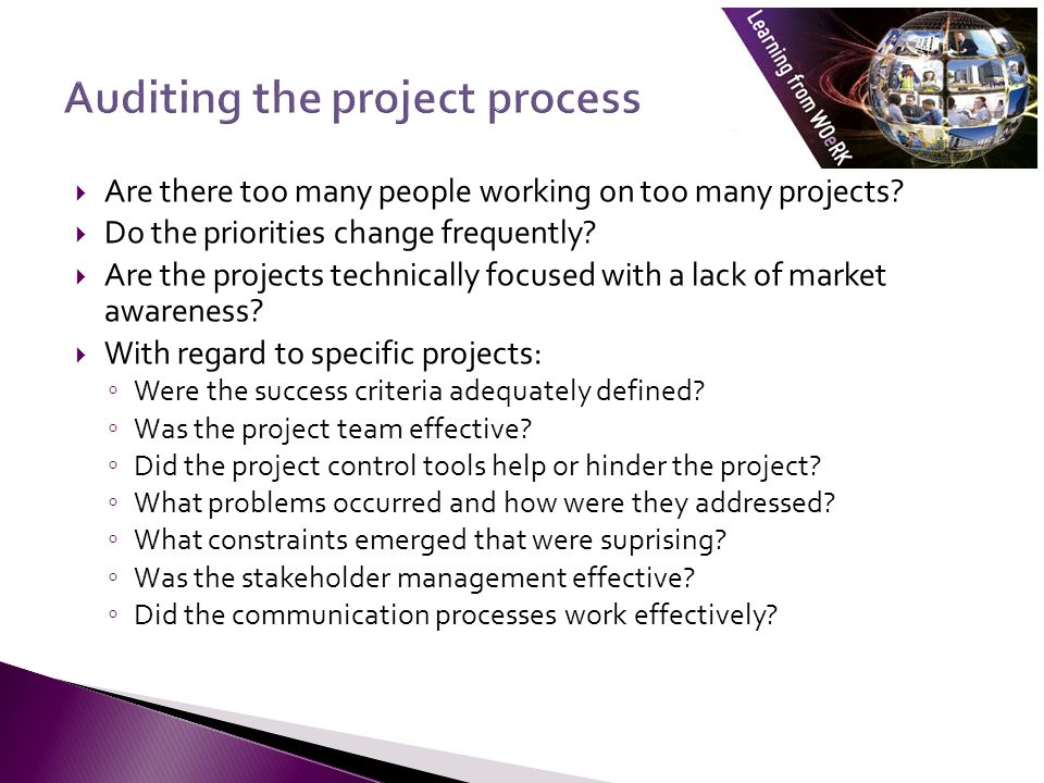 Are there too many people working on too many projects? Do the priorities change frequently? Are the projects technically focused with a lack of marke