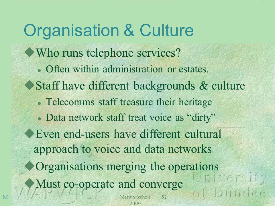 Networkshop 2000 52M Organisation & Culture uWho runs telephone services.