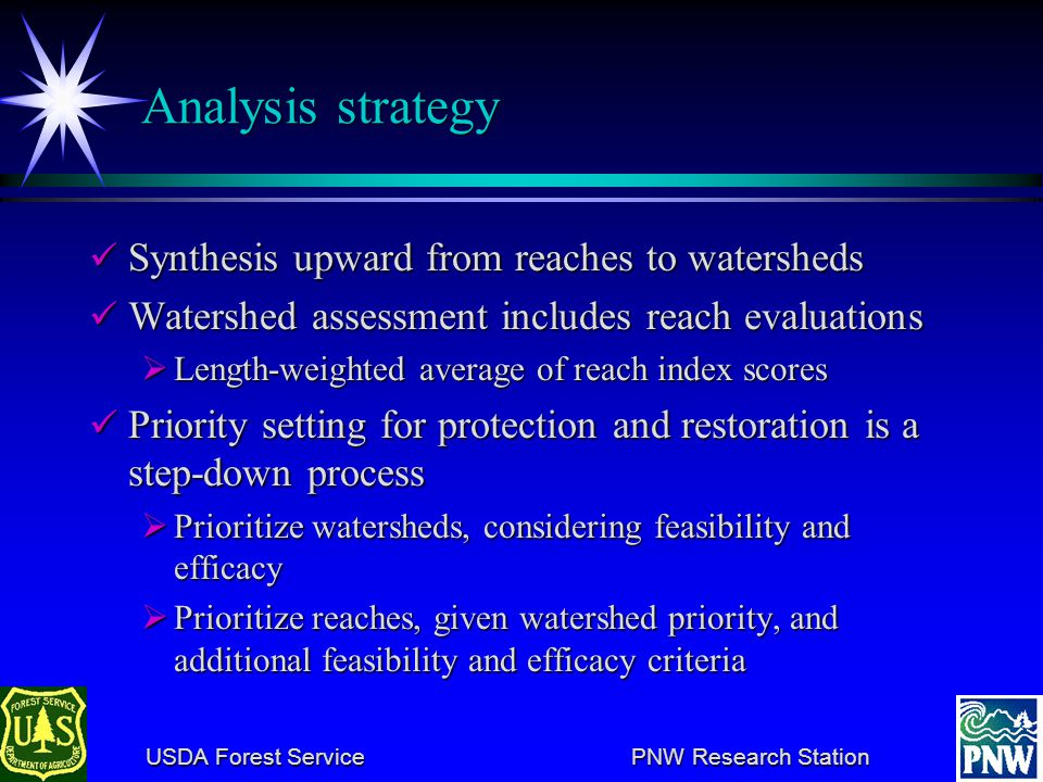 USDA Forest Service PNW Research Station USDA Forest Service PNW Research Station Sequence of steps in assessment and priority setting.