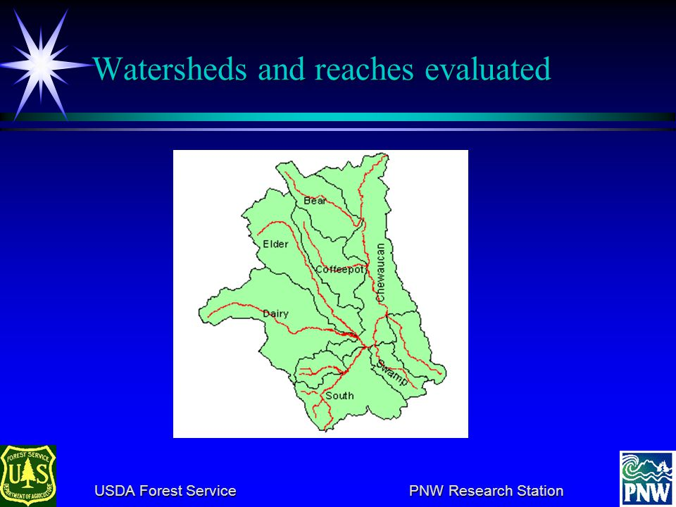 USDA Forest Service PNW Research Station USDA Forest Service PNW Research Station Analysis strategy Synthesis upward from reaches to watersheds Synthesis upward from reaches to watersheds Watershed assessment includes reach evaluations Watershed assessment includes reach evaluations Length-weighted average of reach index scores Length-weighted average of reach index scores Priority setting for protection and restoration is a step-down process Priority setting for protection and restoration is a step-down process Prioritize watersheds, considering feasibility and efficacy Prioritize watersheds, considering feasibility and efficacy Prioritize reaches, given watershed priority, and additional feasibility and efficacy criteria Prioritize reaches, given watershed priority, and additional feasibility and efficacy criteria