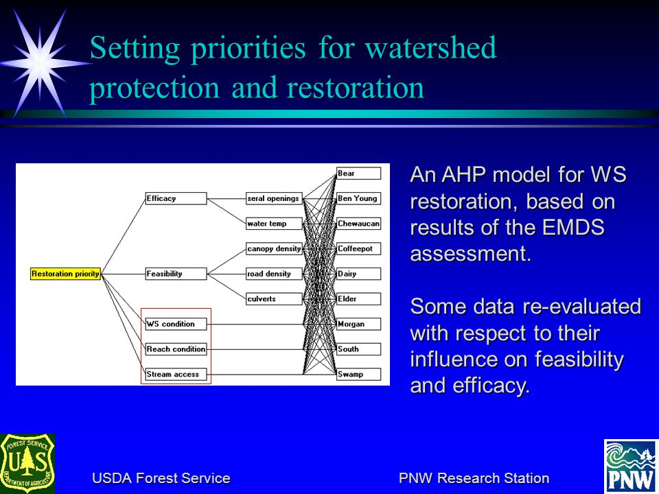 USDA Forest Service PNW Research Station USDA Forest Service PNW Research Station Summary of limiting factors by watershed Watershed Stream condition