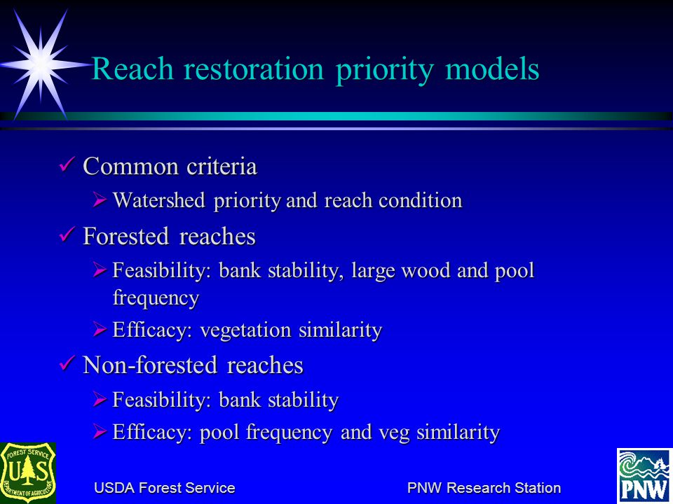 USDA Forest Service PNW Research Station USDA Forest Service PNW Research Station Testing sensitivity of WS priority model In this example, a 13.4% change in the weight on the WS condition criterion would lead to a change in ordering of priorities.
