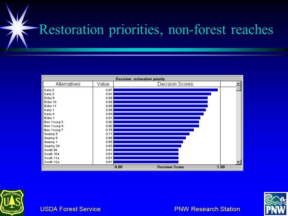 USDA Forest Service PNW Research Station USDA Forest Service PNW Research Station Setting priorities, non-forested reaches (Feasibility)