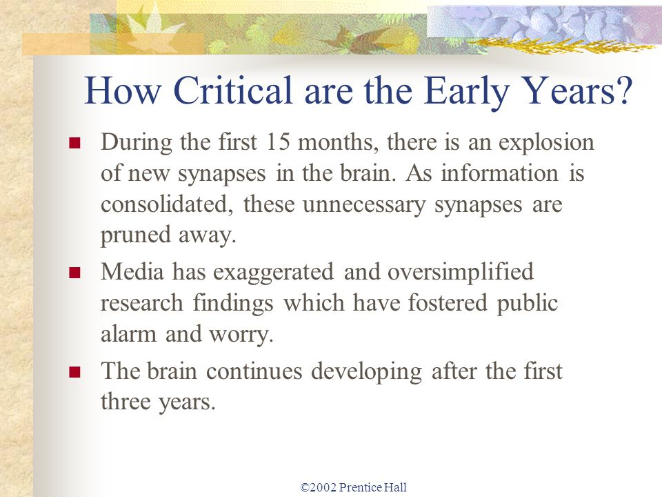 ©2002 Prentice Hall How Critical are the Early Years? During the first 15 months, there is an explosion of new synapses in the brain. As information i