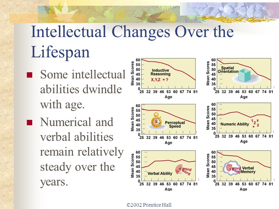 ©2002 Prentice Hall Intellectual Changes Over the Lifespan Some intellectual abilities dwindle with age. Numerical and verbal abilities remain relativ