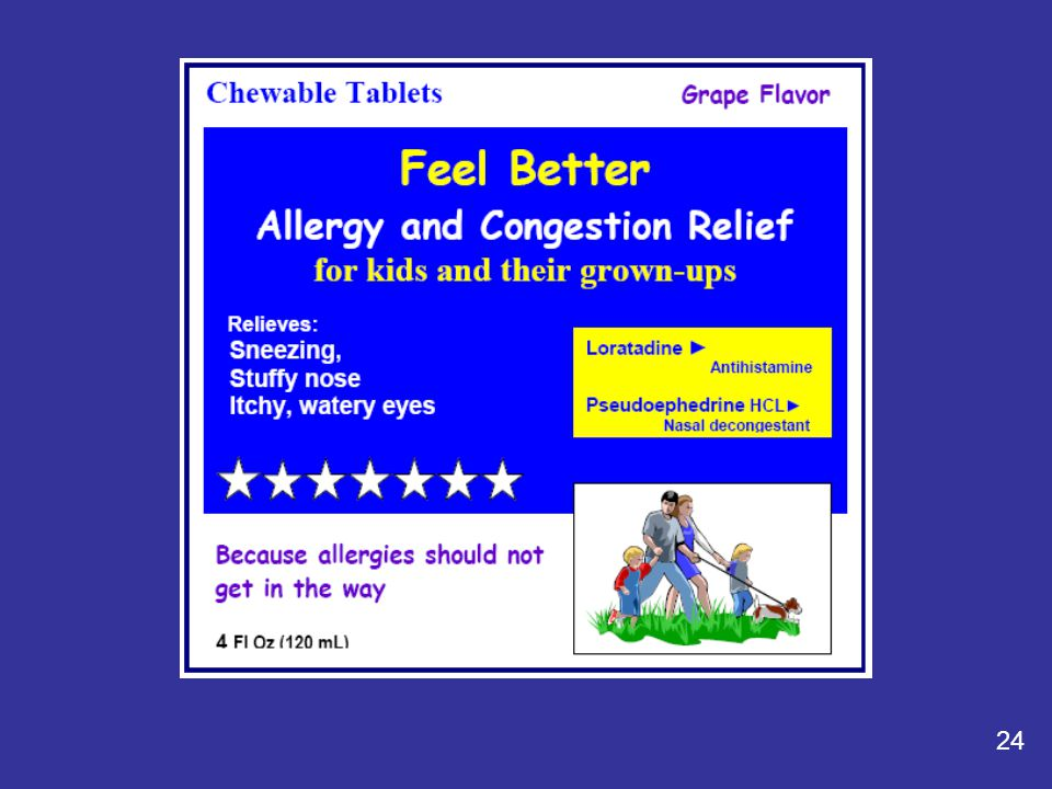 25 Feel Better: Allergy and Congestion Relief Taking more than directed may cause drowsiness.