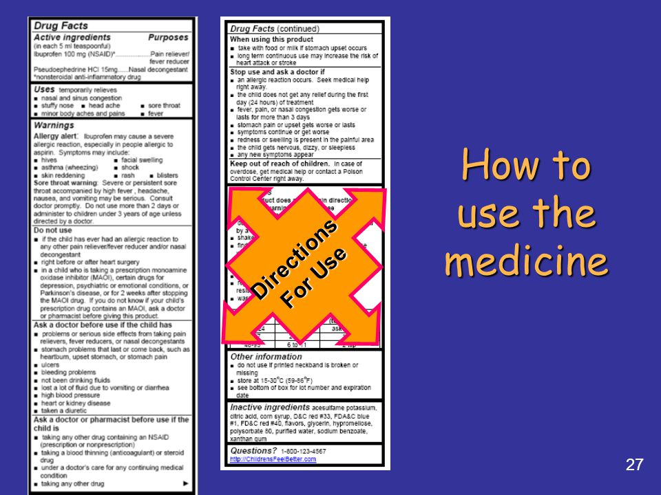27 How to use the medicine Directions For Use