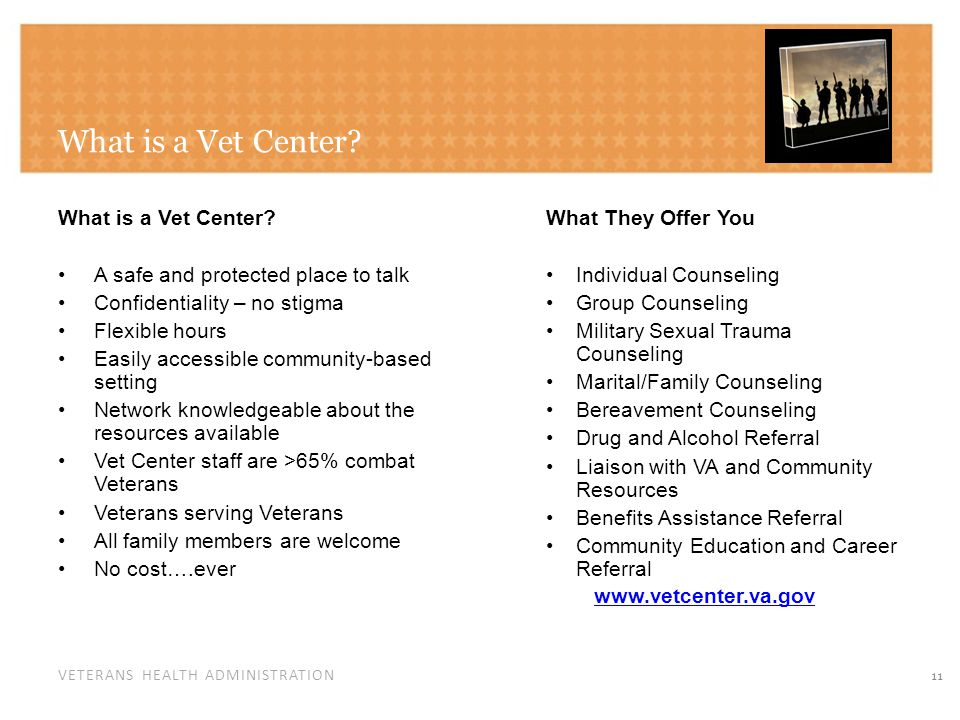 VETERANS HEALTH ADMINISTRATION What is a Vet Center.