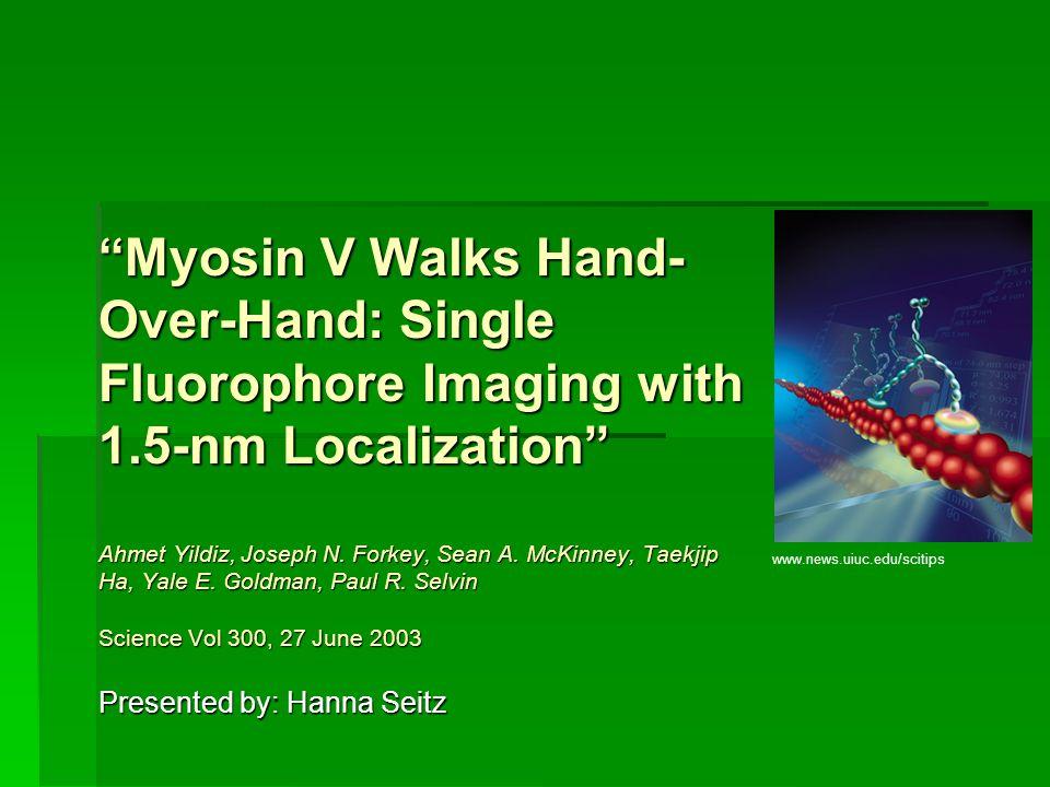 Myosin V Walks Hand- Over-Hand: Single Fluorophore Imaging with 1.5-nm Localization Ahmet Yildiz, Joseph N. Forkey, Sean A. McKinney, Taekjip Ha, Yale