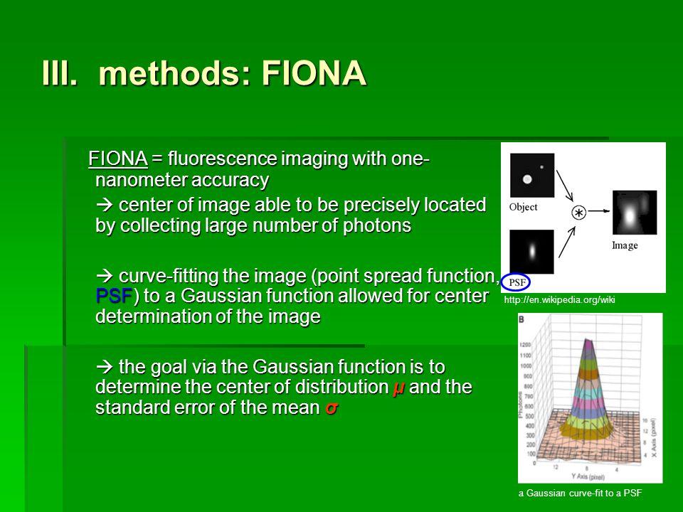 III. methods: FIONA FIONA = fluorescence imaging with one- nanometer accuracy FIONA = fluorescence imaging with one- nanometer accuracy center of imag