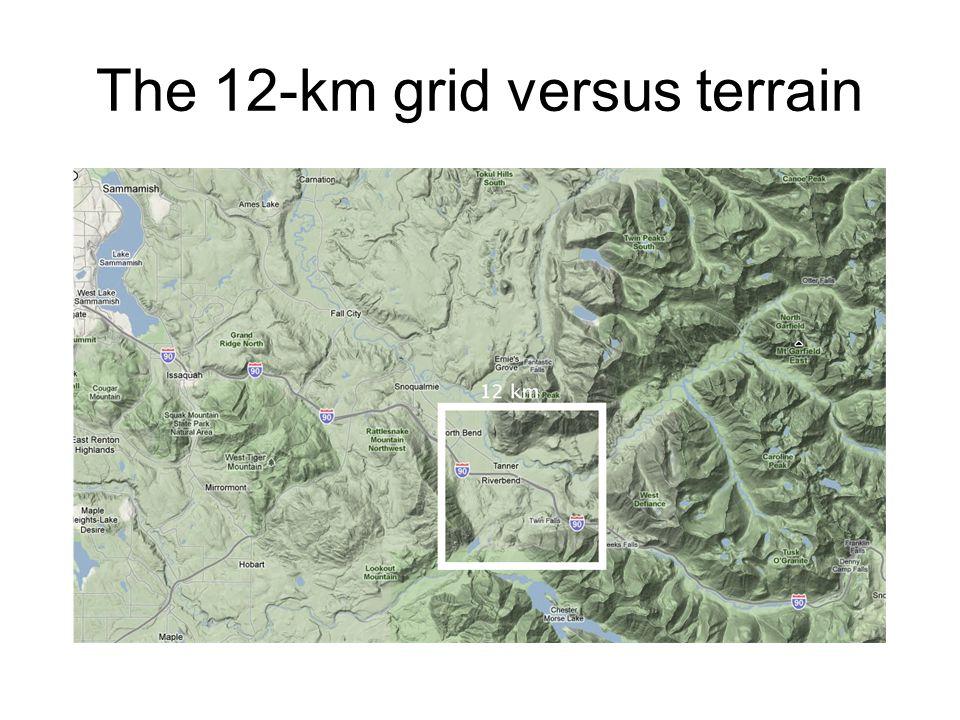 The 12-km grid versus terrain
