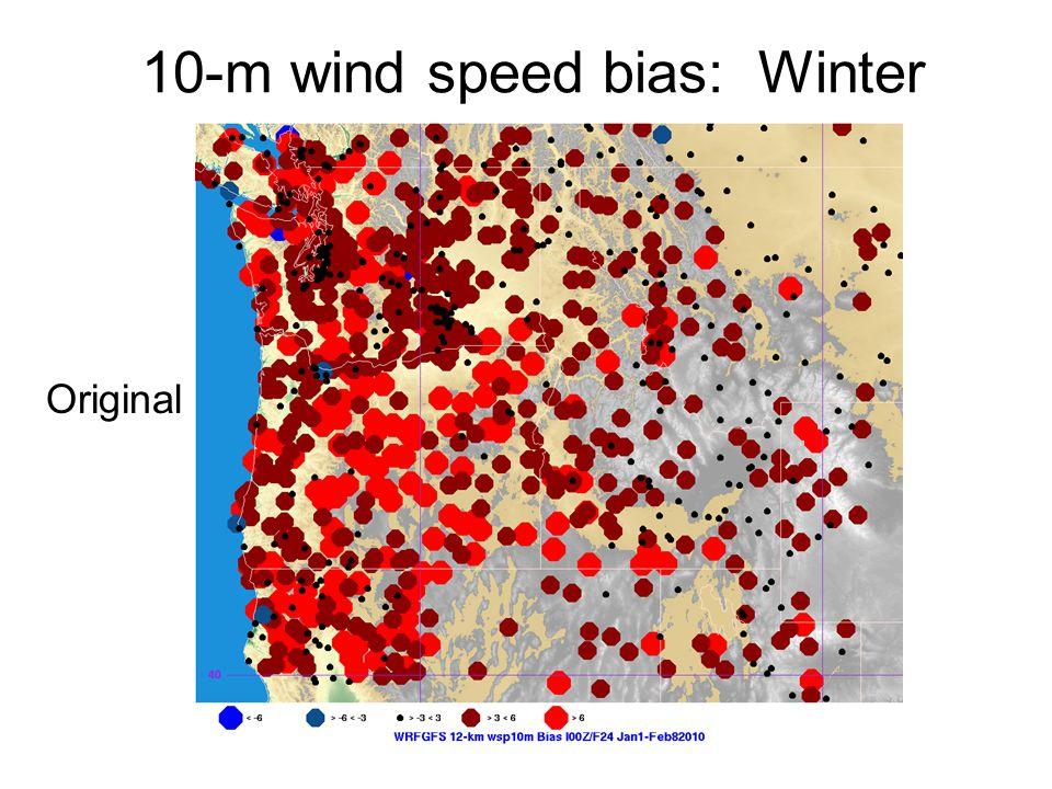 10-m wind speed bias: Winter Original