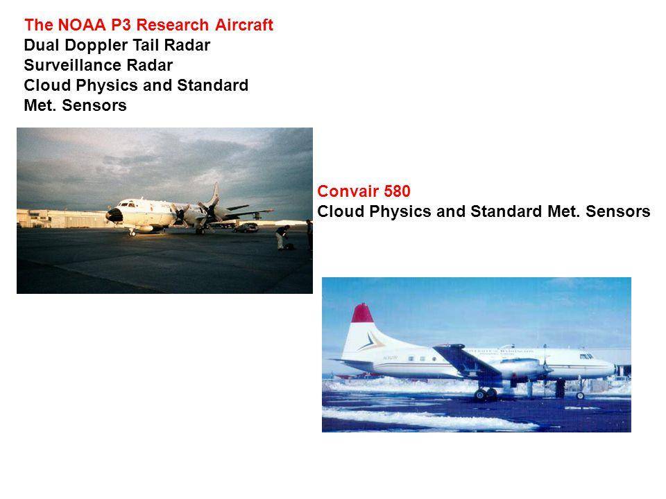 The NOAA P3 Research Aircraft Dual Doppler Tail Radar Surveillance Radar Cloud Physics and Standard Met. Sensors Convair 580 Cloud Physics and Standar