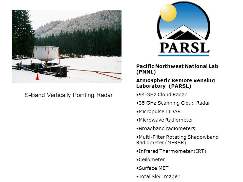 S-Band Vertically Pointing Radar Pacific Northwest National Lab (PNNL) Atmospheric Remote Sensing Laboratory (PARSL) 94 GHz Cloud Radar 35 GHz Scannin