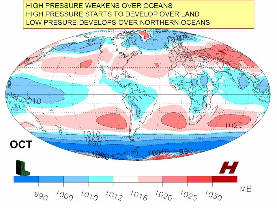 OCT HIGH PRESSURE WEAKENS OVER OCEANS HIGH PRESSURE STARTS TO DEVELOP OVER LAND LOW PRESURE DEVELOPS OVER NORTHERN OCEANS