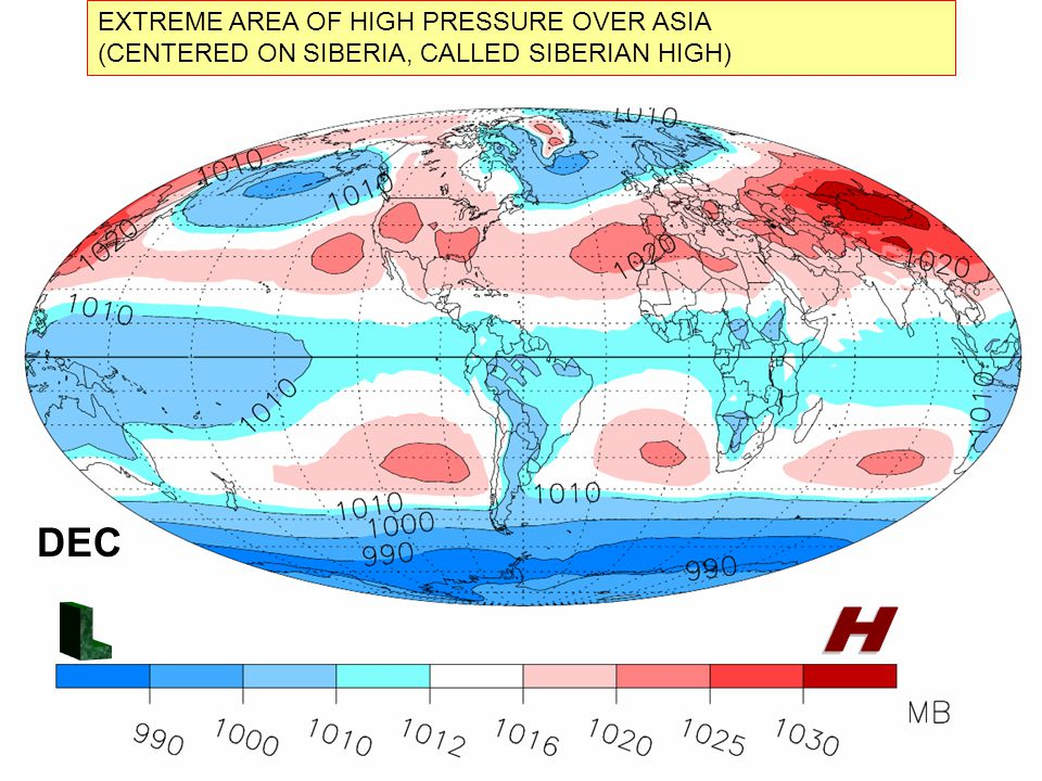 DEC EXTREME AREA OF HIGH PRESSURE OVER ASIA (CENTERED ON SIBERIA, CALLED SIBERIAN HIGH)