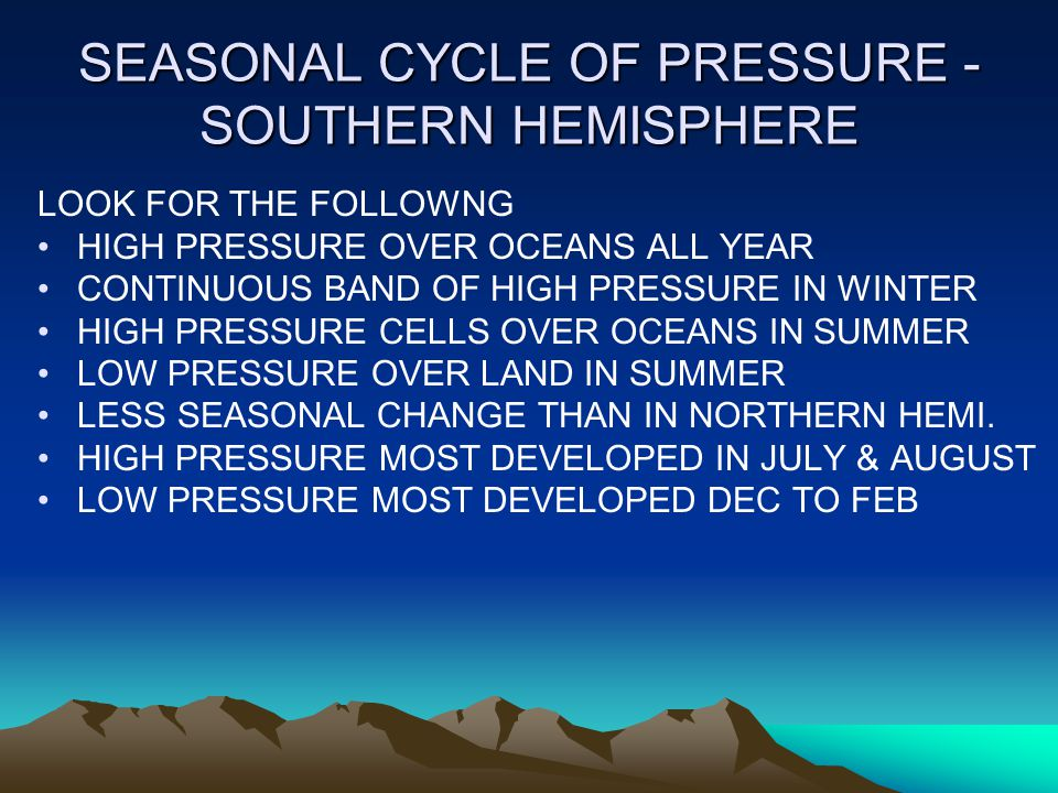 SEASONAL CYCLE OF PRESSURE - SOUTHERN HEMISPHERE LOOK FOR THE FOLLOWNG HIGH PRESSURE OVER OCEANS ALL YEAR CONTINUOUS BAND OF HIGH PRESSURE IN WINTER HIGH PRESSURE CELLS OVER OCEANS IN SUMMER LOW PRESSURE OVER LAND IN SUMMER LESS SEASONAL CHANGE THAN IN NORTHERN HEMI.