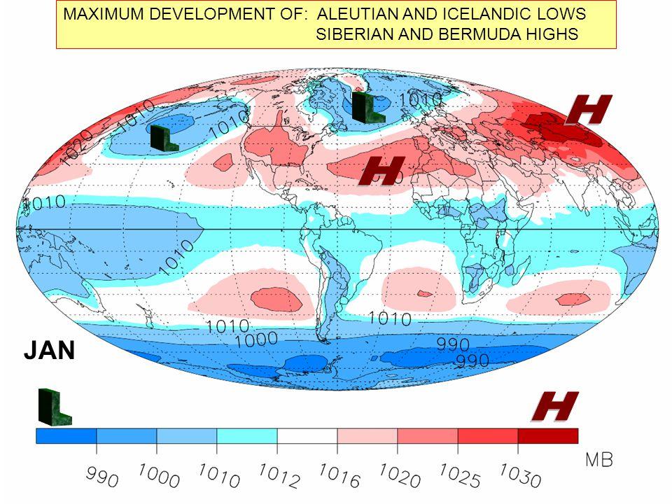 MAXIMUM DEVELOPMENT OF: ALEUTIAN AND ICELANDIC LOWS SIBERIAN AND BERMUDA HIGHS JAN