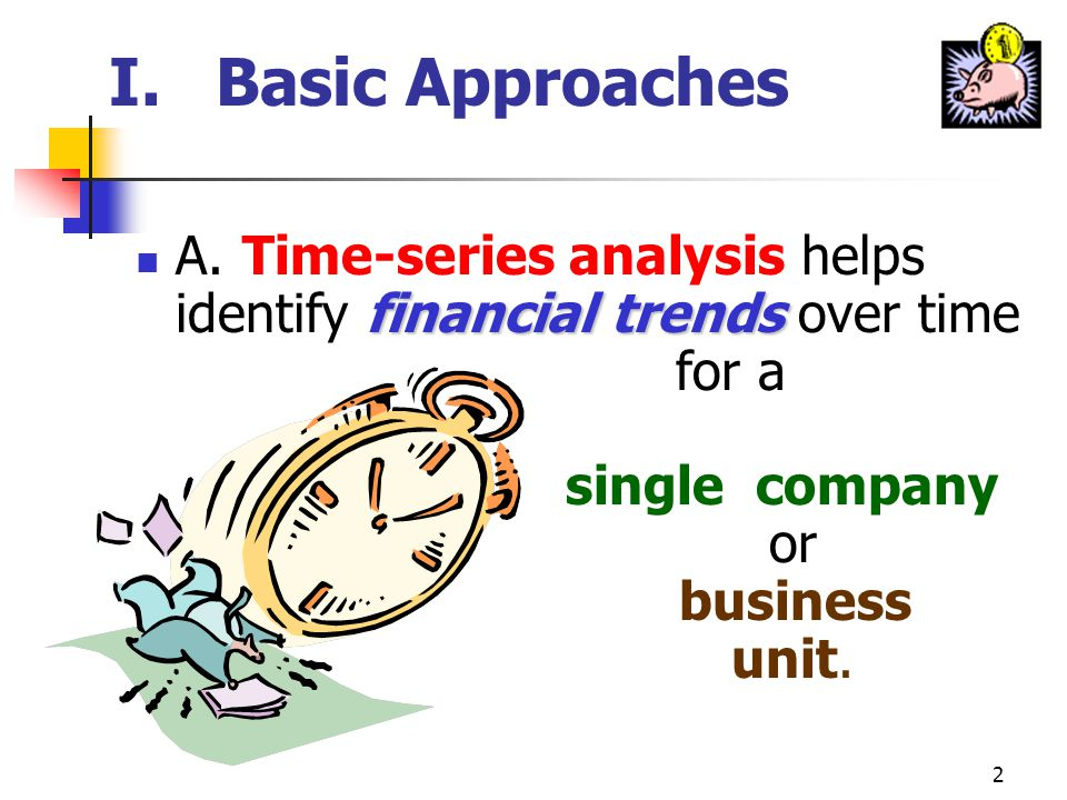 2 I.Basic Approaches financial trends A.Time-series analysis helps identify financial trends over time for a single company or business unit.