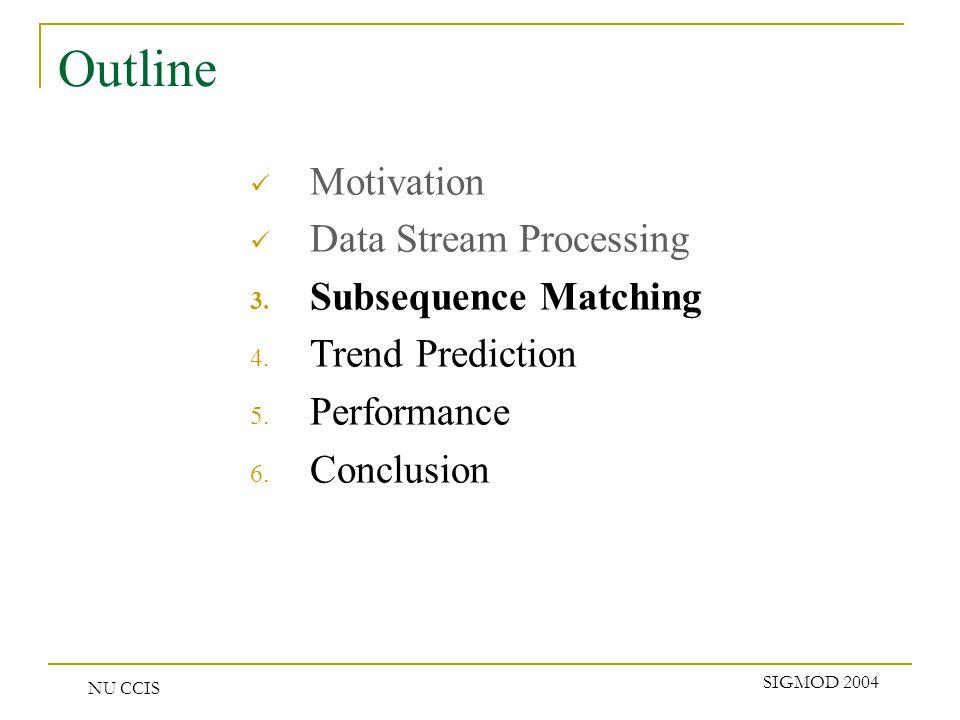 NU CCIS SIGMOD 2004 Outline Motivation Data Stream Processing 3.