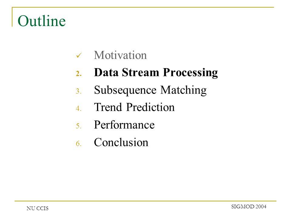 NU CCIS SIGMOD 2004 Outline Motivation 2. Data Stream Processing 3.