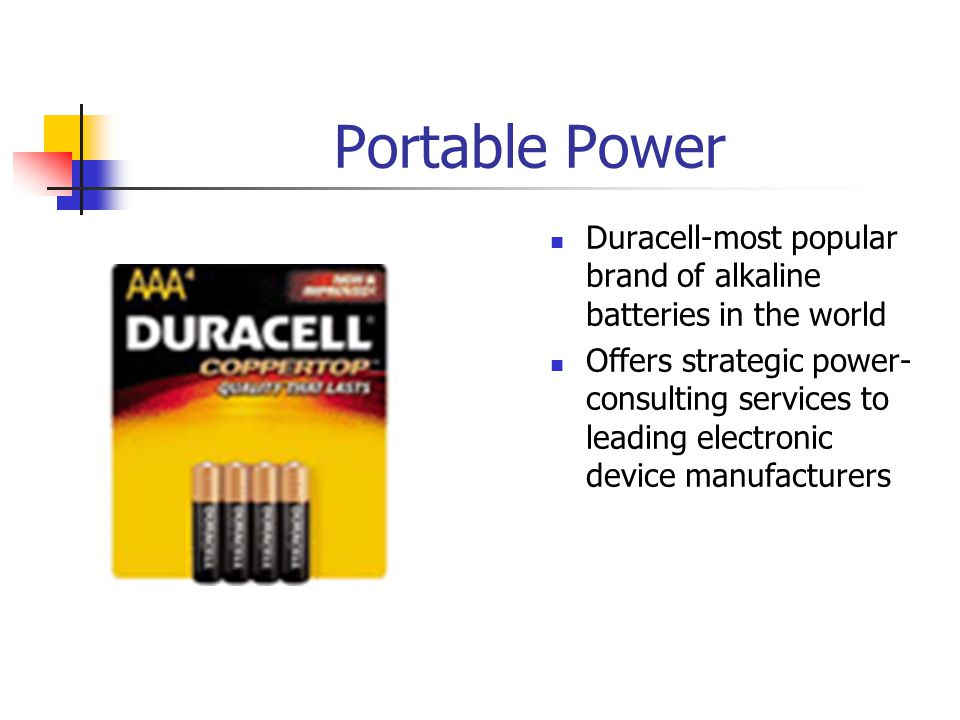 Portable Power Duracell-most popular brand of alkaline batteries in the world Offers strategic power- consulting services to leading electronic device