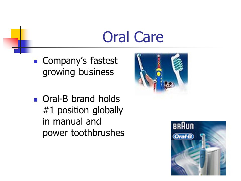 Oral Care Companys fastest growing business Oral-B brand holds #1 position globally in manual and power toothbrushes