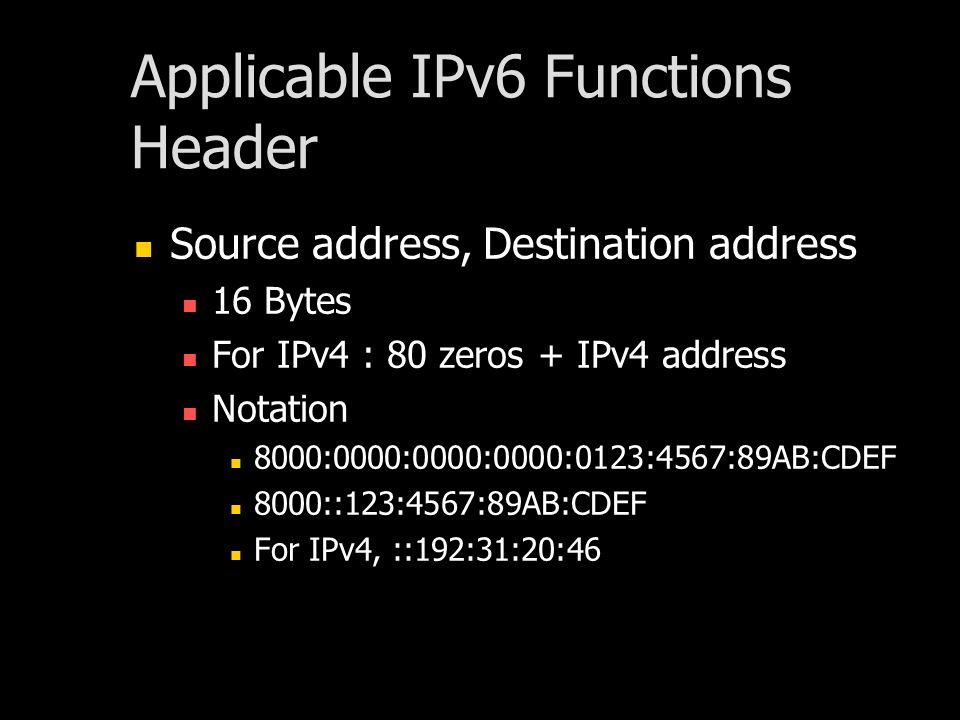 Applicable IPv6 Functions Header Source address, Destination address 16 Bytes For IPv4 : 80 zeros + IPv4 address Notation 8000:0000:0000:0000:0123:4567:89AB:CDEF 8000::123:4567:89AB:CDEF For IPv4, ::192:31:20:46