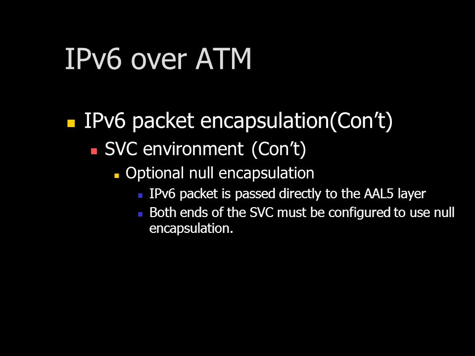 IPv6 over ATM IPv6 packet encapsulation(Cont) SVC environment (Cont) Optional null encapsulation IPv6 packet is passed directly to the AAL5 layer Both ends of the SVC must be configured to use null encapsulation.