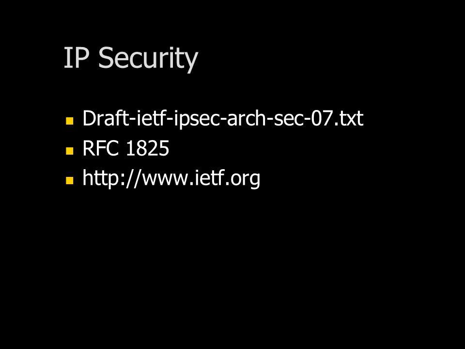 IP Security Draft-ietf-ipsec-arch-sec-07.txt RFC 1825 http://www.ietf.org