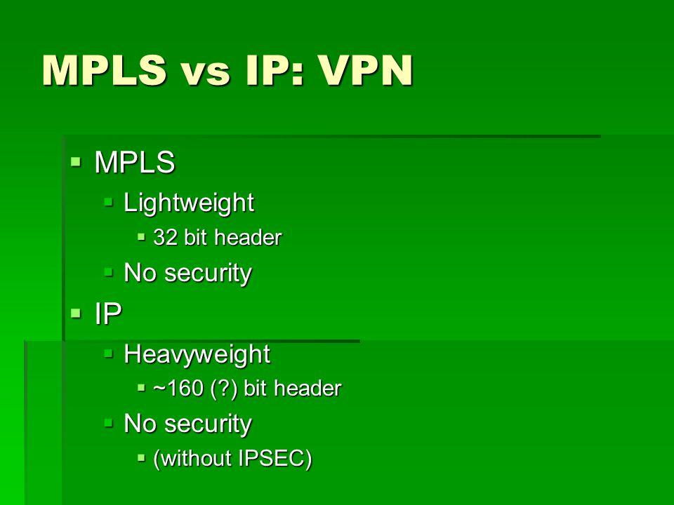 MPLS vs IP: VPN MPLS MPLS Lightweight Lightweight 32 bit header 32 bit header No security No security IP IP Heavyweight Heavyweight ~160 ( ) bit header ~160 ( ) bit header No security No security (without IPSEC) (without IPSEC)