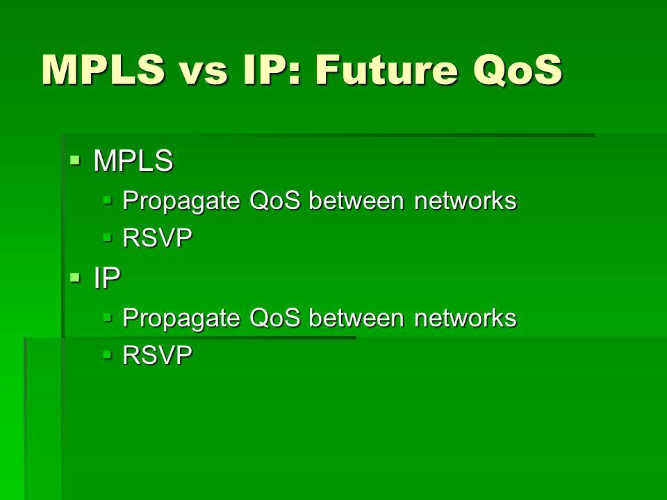 MPLS vs IP: Future QoS MPLS MPLS Propagate QoS between networks Propagate QoS between networks RSVP RSVP IP IP Propagate QoS between networks Propagate QoS between networks RSVP RSVP