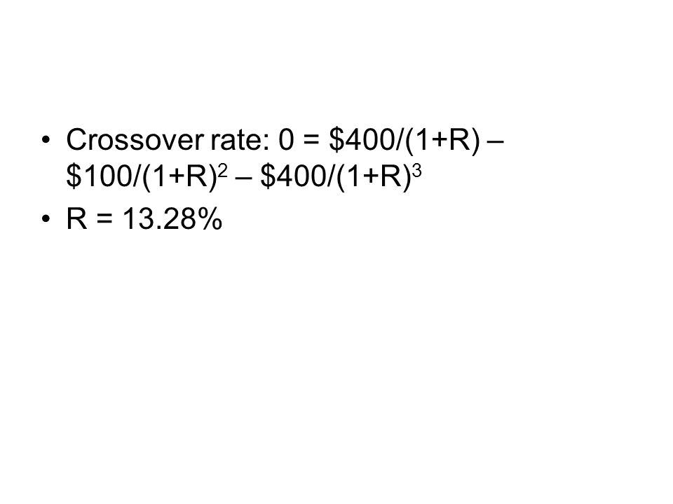 Crossover rate: 0 = $400/(1+R) – $100/(1+R) 2 – $400/(1+R) 3 R = 13.28%