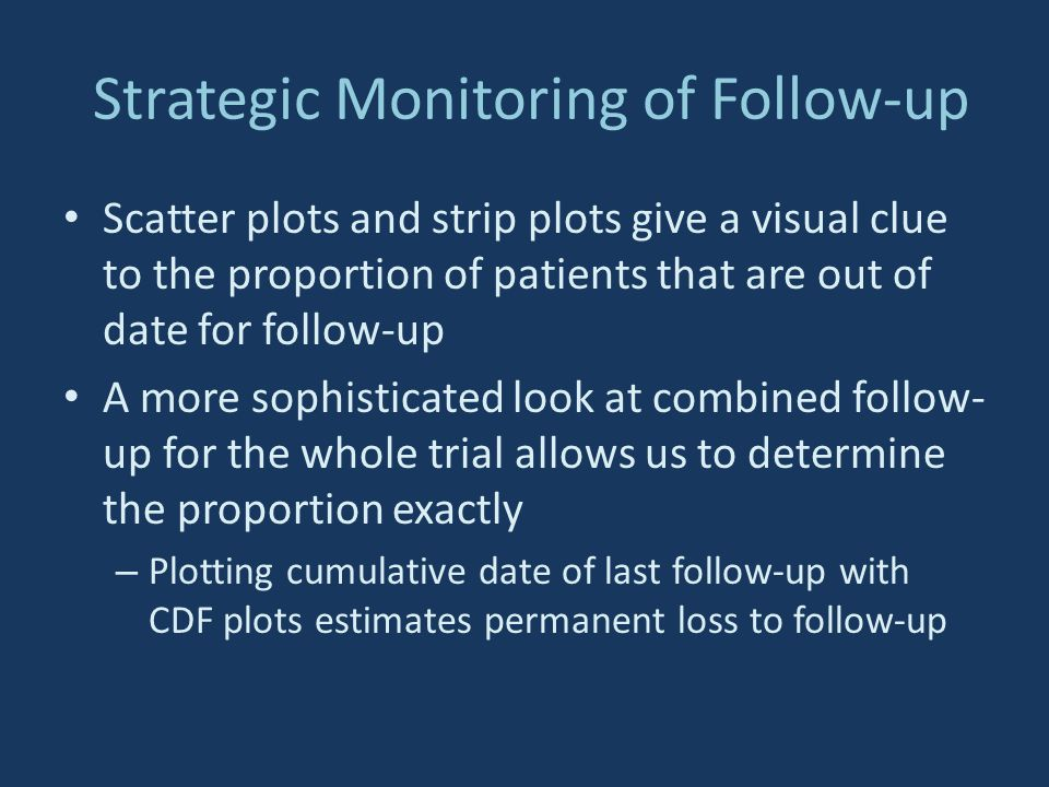 Strategic Monitoring of Follow-up Scatter plots and strip plots give a visual clue to the proportion of patients that are out of date for follow-up A