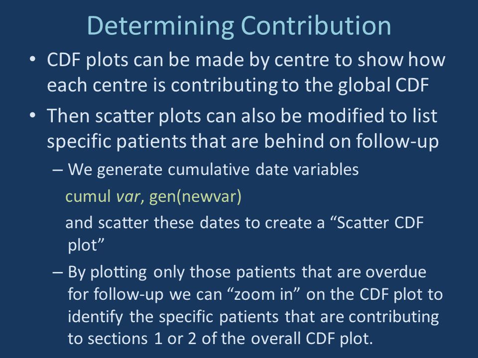 Determining Contribution CDF plots can be made by centre to show how each centre is contributing to the global CDF Then scatter plots can also be modi