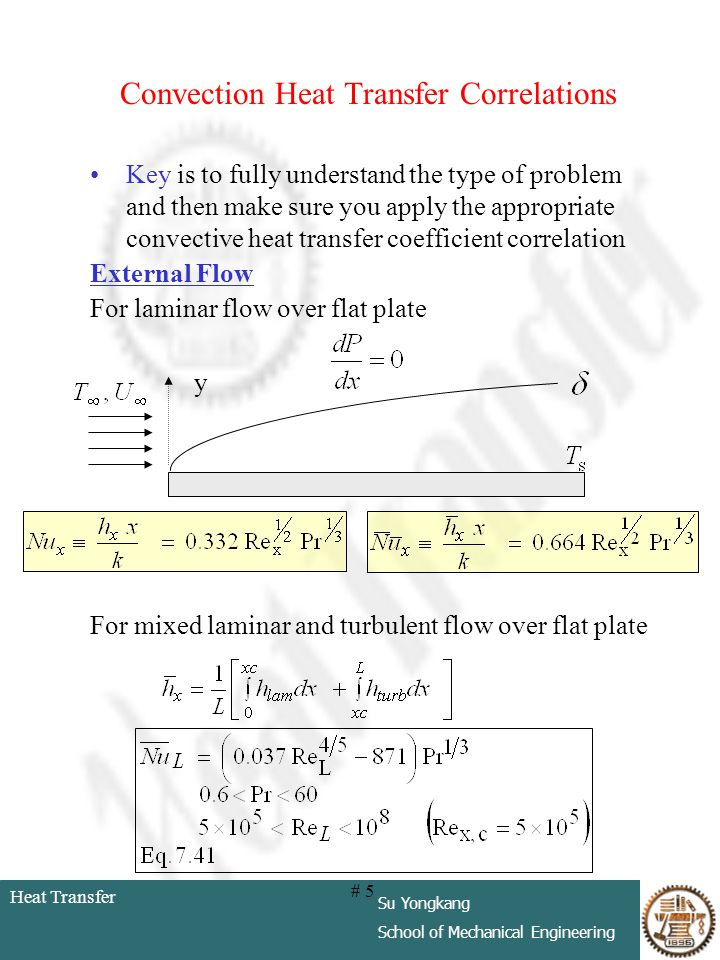 Heat Transfer Su Yongkang School of Mechanical Engineering # 5 Convection Heat Transfer Correlations Key is to fully understand the type of problem an