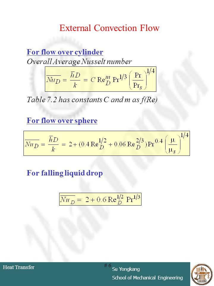 Heat Transfer Su Yongkang School of Mechanical Engineering # 6 External Convection Flow For flow over cylinder Overall Average Nusselt number Table 7.